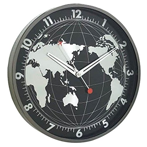 Time Concept 12″ Round Decorative Wall Clock – Dark Globe – Aluminum Frame, 1 x AA Battery Operated