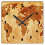 Antique World Map Square Wall Clock
