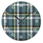 Classic Teal Blue Yellow Tartan Plaid Stripes Large Clock