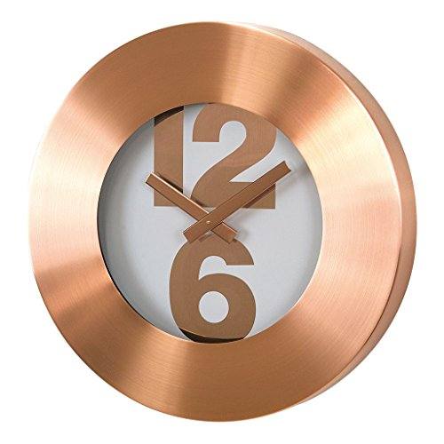 Time Concept 12″ Round Bold Number Wall Clock – Copper – Metal Steel Frame, 1 x AA Battery Operated