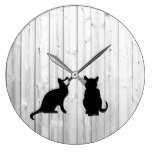 Modern black cats silhouettes on driftwood shiplap large clock