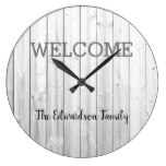 Modern rustic welcome Family name gray shiplap Large Clock