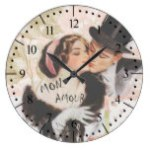 Vintage Retro love Couples Large Clock