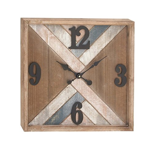 Deco 79 94628 Metal and Wood Wall Clock, 19″ x 19″, Brown/Black/White/Pink/Blue