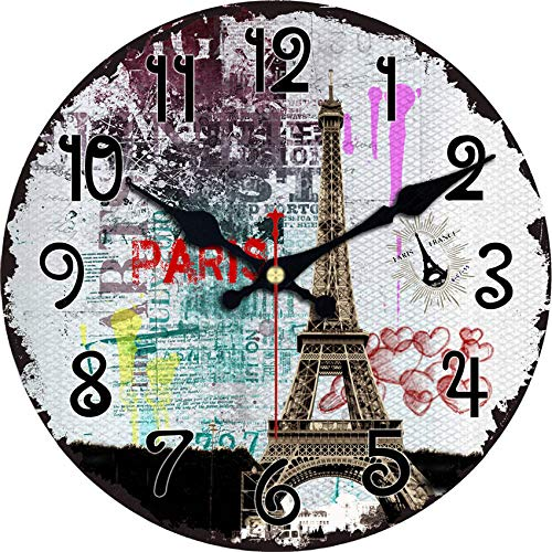 4 Size Vintage Tower Design Wall Clock Rustic Chic Office Cafe Home Decoration Wall Art Large Watches Durable Mute Move Colorful Tower 6 inch (15 cm)
