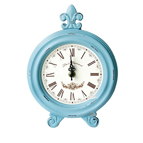 B Blesiya Vintage Wooden Wood Desktop Clock Mantel Clock Decoration Ornament Art Craft – Blue