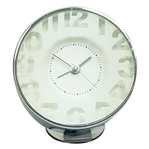Time Concept Round Decorative Bedside Alarm Clock – Transparent White – 1 x AA Battery Operated