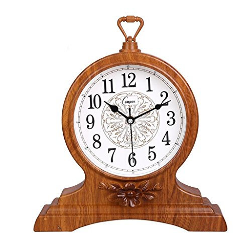 HAOFAY Retro Vintage Mantel/European Yellow Wood Arabic Digital Silent Quartz Clock Clock Desk and Shelf Clock Decoration, Countertop Table Clock