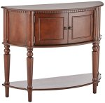 Coaster Traditional Brown Console Table with Curved Front and Inlay Shelf