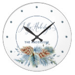 Jolly Hollidays Winter Evergreens Large Clock