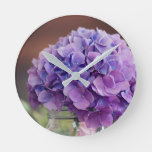 Rustic Purple Hydrangea in Mason Jar Photograph Round Clock