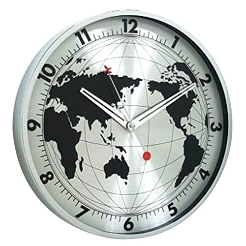 Time Concept 12″ Round Decorative Wall Clock – Globe – Aluminum Frame, 1 x AA Battery Operated