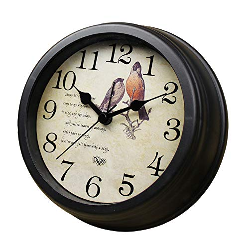 TENCO 6″ Classic Battery Operated Desk Clocks,Small Vintage Decorative Silent Bird Clock Non Ticking