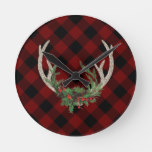 Boho Antlers Rustic Floral Buffalo Red Black Plaid Round Clock