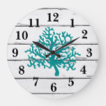 Coral Reef Turquoise Beach Decor Rustc Shiplap Large Clock