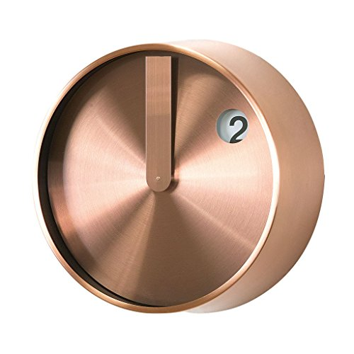 Time Concept 8″ Round Minimal Wall Clock – Copper – Metal Steel Frame, 1 x AA Battery Operated