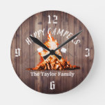 Happy Campers Rustic Bonfire Camping Family Name Round Clock