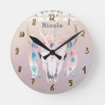 Pretty Iridescent Boho Chic Floral Rustic Custom Round Clock