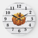 Pumpkin Autumn Painting Shiplap Rustic Decor Large Clock