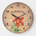 Rustic Watercolor Orange Lily Illustration Large Clock