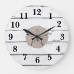 Sand Dollar Painting Shiplap Rustic Decor Large Clock