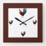 Square Colorful Chicken Clock