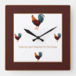 Square Colorful Chicken Clock-Blessings Upon Square Wall Clock