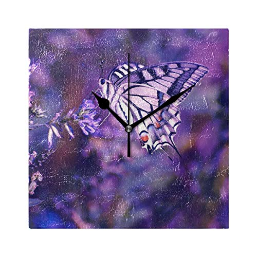 HangWang Wall Clock Purple Butterfly Silent Non Ticking Decorative Square Digital Clocks for Home/Office/School Clock