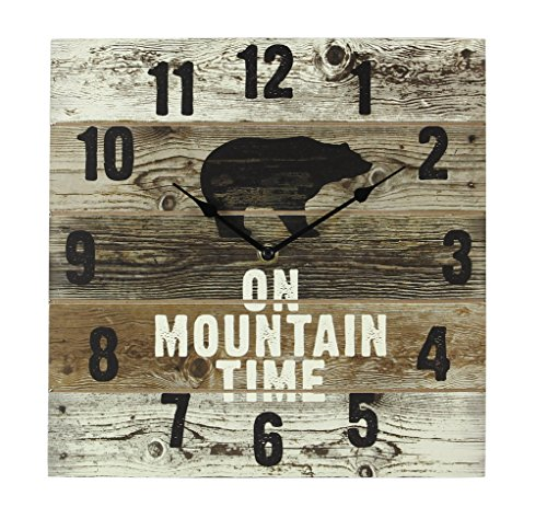 Young's FBA_17240 On Mountain Time Bear Wooden Wall Clock with Hands, 12″ x 2″ x 12″