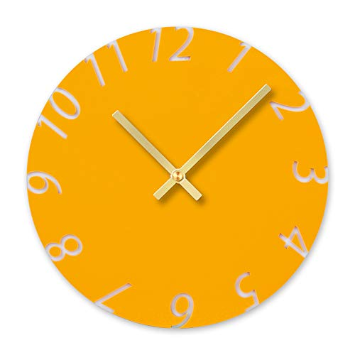 BB67 DIY Clock Modern Fashion Acrylic Removable Acrylic Wall Clocks Decorative Clock Round Home/Office/School Clock (F, Yellow)