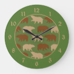 Bear Pattern on Green Cabin Large Clock