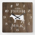 Country Farm Fresh Milk On Wood Textures Square Wall Clock