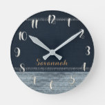 Denim & Diamonds Glam Sequins Glitter Personalized Round Clock