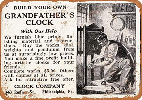 Tamengi 1915 Build Your Own Grandfather Clock Vintage Look 8″ X 12″ Metal Signs