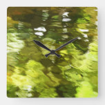 Green Tree Leaves Reflected in Water Clock