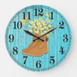 Hiking Boots & Flowers Round (Large) Wall Clock