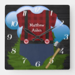 Lumberjack Baby Boy Monogram Square Wall Clock
