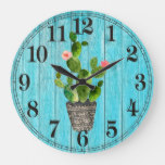 Rustic Cactus Round (Large) Wall Clock