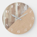 Rustic Country Multicolored Wood and Burlap Large Clock