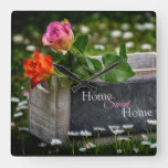 Rustic Country Roses, Home Sweet Home Square Wall Clock