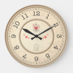 Rustic, Wood Effect. Birdcages and Hearts. Large Clock