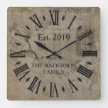 Vintage Rustic Antique Newspaper Press Square Wall Clock