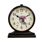 ZYANZ Retro Ultra Quiet Table Clock, Battery Powered Desk Clock (Color : Black Gold, Size : 32.5×27.5cm)