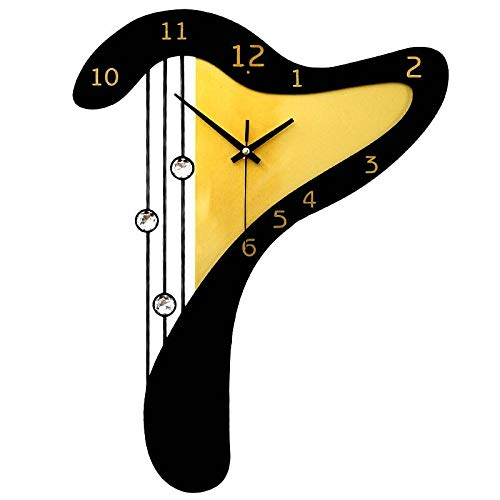 Harp Mute Wall Clock Rustic Style Living Room Bedroom Hanging Table Decoration Quartz Clock,40X56.8Cm