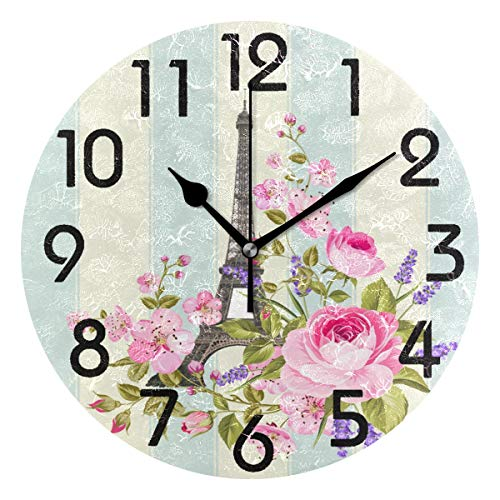 Naanle Stylish Romantic Eiffel Tower Flowers Elegant Stripe Round Wall Clock Decorative, 9.5 Inch Battery Operated Quartz Analog Quiet Desk Clock for Home,Office,School