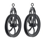 Rustic State Vintage Rustic Industrial Look Medium Wheel Farm Pulley for Custom Make Wall Pendant Lamps Frosty Black Set of 2