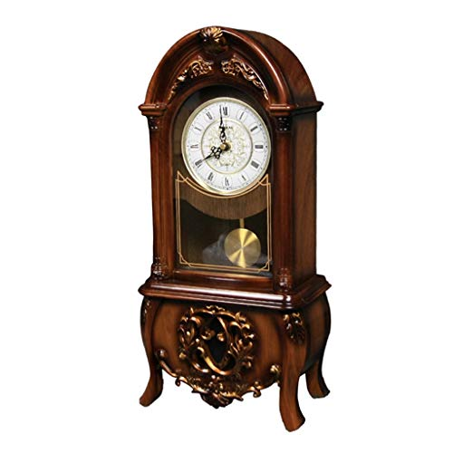ZYANZ Retro Silent Mantel Clock, Battery Powered Desk Shelf Clock (Color : Brown, Size : 16.5″/48×22.5x12cm)
