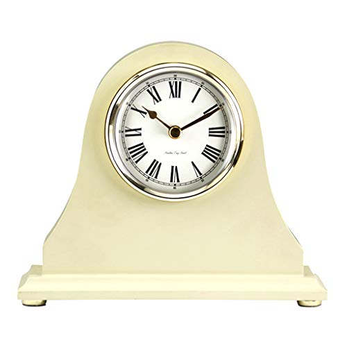 Desk Clock Table Clock for Living Room Decor Bedrooms Bathroom European Battery Operated Analog Non-Ticking Silent Decorative (Color : A)