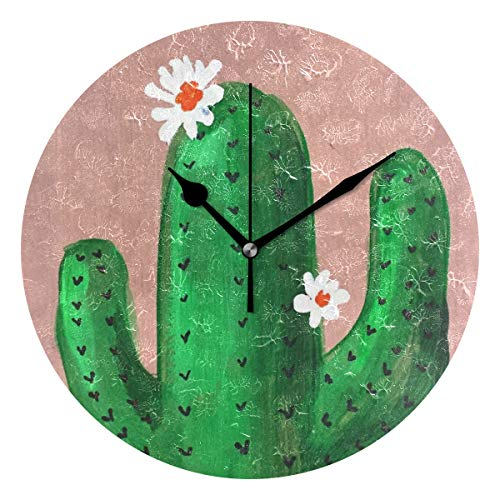 Ladninag Wall Clock Watercolor Blooming Cactus Silent Non Ticking Decorative Round Digital Clocks for Home/Office/School Clock