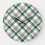 Green White Red Blue Cool Lumberjack Plaid Pattern Large Clock